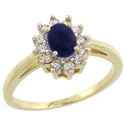 Natural 0.67 ctw Lapis & Diamond Engagement Ring 10K Yellow Gold - REF-38H4W