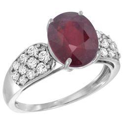 Natural 3.99 ctw ruby & Diamond Engagement Ring 14K White Gold - REF-63V5F
