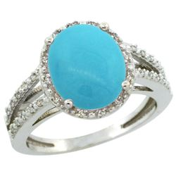 Natural 3.47 ctw Turquoise & Diamond Engagement Ring 14K White Gold - REF-55X7A