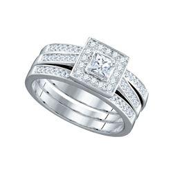 0.50 CTW Princess Diamond Bridal Engagement Ring 14KT White Gold - REF-82K4W