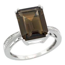 Natural 5.42 ctw Smoky-topaz & Diamond Engagement Ring 14K White Gold - REF-61V9F