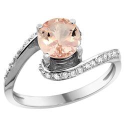 Natural 0.94 ctw morganite & Diamond Engagement Ring 10K White Gold - REF-46Z2Y