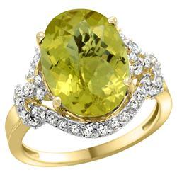 Natural 5.89 ctw lemon-quartz & Diamond Engagement Ring 14K Yellow Gold - REF-86H5W