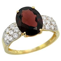 Natural 2.75 ctw garnet & Diamond Engagement Ring 14K Yellow Gold - REF-61F4N