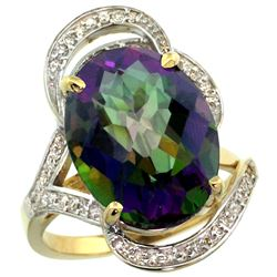 Natural 11.23 ctw mystic-topaz & Diamond Engagement Ring 14K Yellow Gold - REF-104K5R
