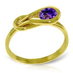 Genuine 0.65 ctw Amethyst Ring Jewelry 14KT Yellow Gold - REF-47R2P