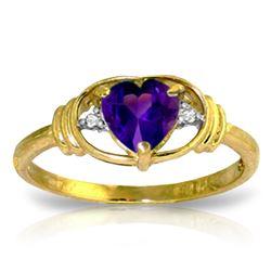 Genuine 0.96 ctw Amethyst & Diamond Ring Jewelry 14KT Yellow Gold - REF-40Z3N