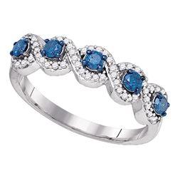 0.50 CTW Blue Color Diamond Woven Ring 10KT White Gold - REF-26M9H