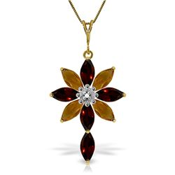 Genuine 2.0 ctw Garnet, Citrine & Diamond Necklace Jewelry 14KT Yellow Gold - REF-47W4Y