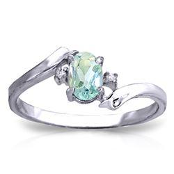 Genuine 0.46 ctw Aquamarine & Diamond Ring Jewelry 14KT White Gold - REF-29Y3F