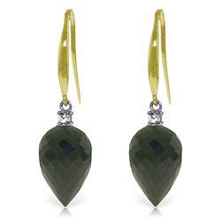 Genuine 24.6 ctw Black Spinel & Diamond Earrings Jewelry 14KT Yellow Gold - REF-39P3H