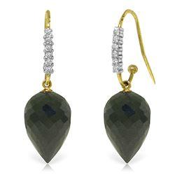 Genuine 24.68 ctw Black Spinel & Diamond Earrings Jewelry 14KT Yellow Gold - REF-50V5W