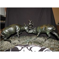 Dueling Mule Deer Bronze by Bill Freeman