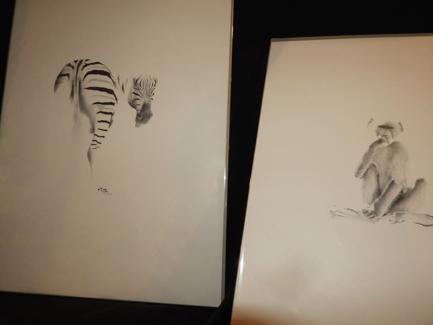 5 Different African animals in pen and ink