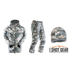 SITKA BLIZZARD PARKA, PANT & BEANIE IN OPEN COUNTRY (100% FULLY DONATED) 1SHOTGEAR