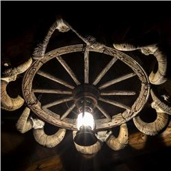 WAGON WHEEL FNAWS CHANDELIAR WYO BACKCOUNTRY DECOR