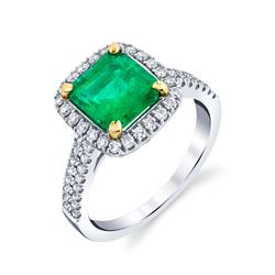 NATURAL COLUMBIAN EMERALD & DIAMOND RING BARANOF JEWELERS