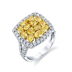 NATURAL FANCY YELLOW DIAMOND RING SET IN 18 KARAT WHITE GOLD BARANOF JEWELERS
