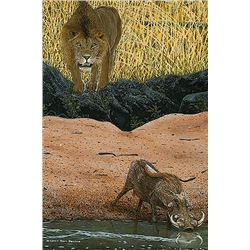 """LION IN WAIT"" 30""X 46"" LIMITED EDITION CANVAS GICLEE  THE DEVINE GALLERY"