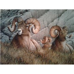 "ORIGINAL OIL PAINTING ""BASES COVERED"" (9""x12"") ACCOMPANIED WITH A ""BIGHORN"" BRONZE (100% FULLY DONAT"