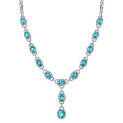 NATURAL BLUE ZIRCON & DIAMOND NECKLACE BARANOF JEWELERS
