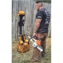 CHAINSAW RAM BUST CARVING WOUNDED WARRIOR OUTDOORS