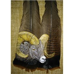 """BIGHORN"" FEATHER ART OF A BIGHORN SHEEP  RONALD WILLIS"