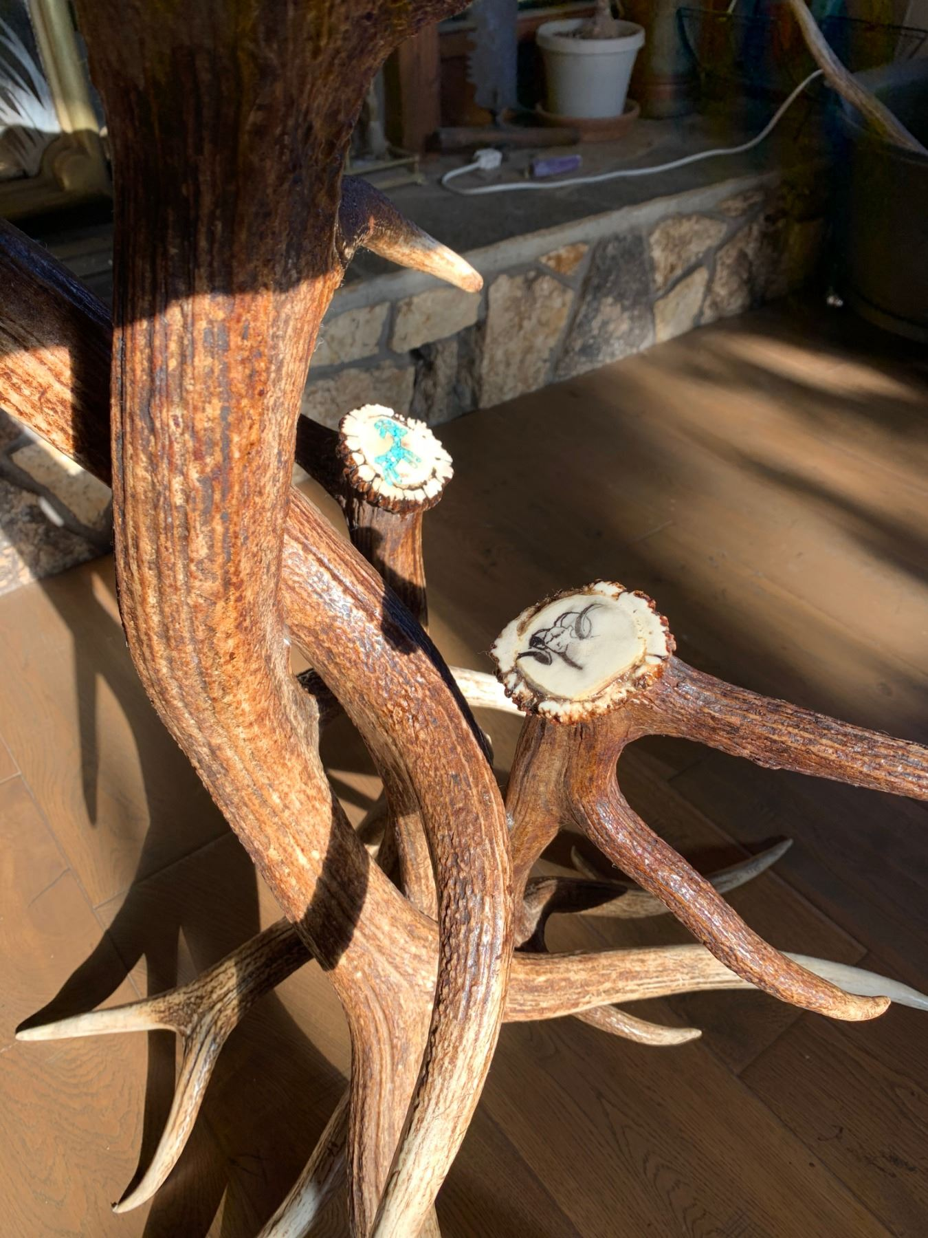 ANTLER HIGH TOP BAR TABLE W/TURQUOISE INLAY AND WSF LOGO