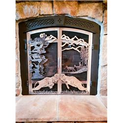 SELF STANDING FIREPLACE SCREEN - BIGHORNS SPLIT MOUNTAIN METALS
