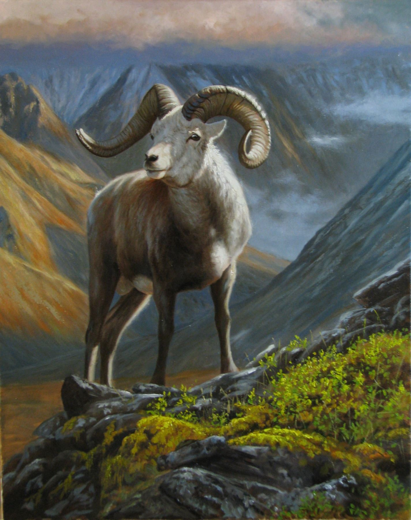 """MOUNTAIN MAJESTY"" ORIGINAL OIL PAINTING ON STRETCHED CANVAS LAMBSON'S WILDLIFE ART"