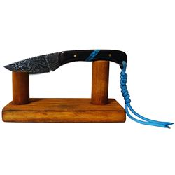 CUSTOM DAMASCUS KNIFE WITH AFRICAN BLACKWOOD HANDLE INLAID WITH BEAUTIFUL TURQUOISE STONE (100% FULL