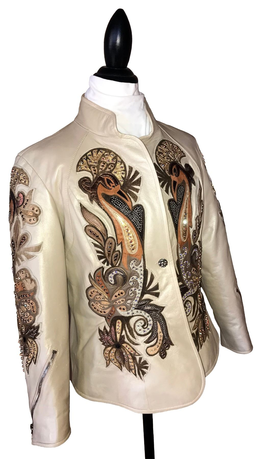 VICKY CARNIVAL RAW EDGE JACKET (Italian leather w/Swarovski Crystals) (100% FULLY DONATED) LIONNE ST