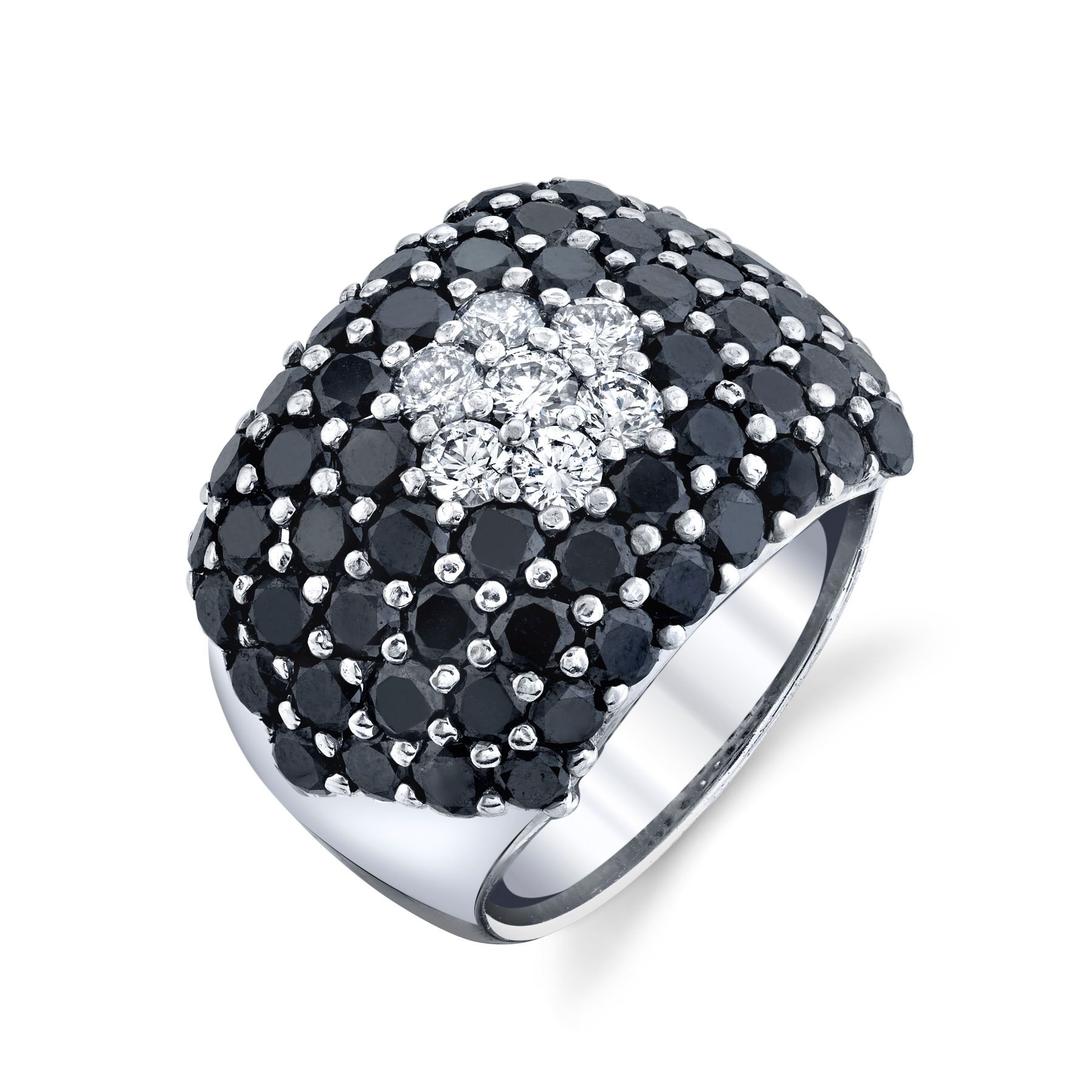 NATURAL BLACK AND WHITE DIAMOND RING AND EARRING SET BARANOF JEWELERS