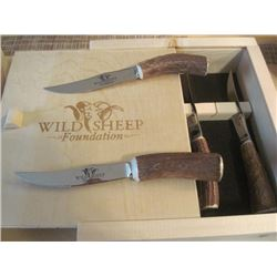Six Forged Stainless Steel Knifes from Elk Antler with WSF Logo