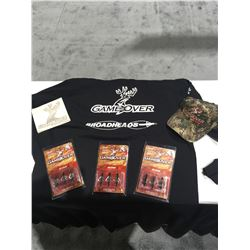3 Three Packs of Game Over Extreme SP Broadheads, Hat and 2 XL Tee Shirt
