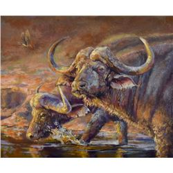 "WILDLIFE CONSERVATION ARTIST VICKIE McMILLAN-HAYES ""Black Danger"" Original Painting"