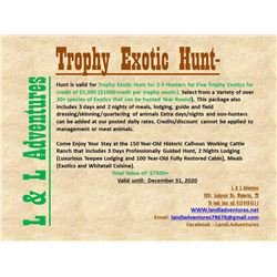 Texas Exotics Hunt for Two - Five Hunters