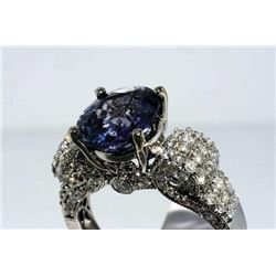 THD-05 5.3 Ct Sapphire and Diamond Ring, 18K