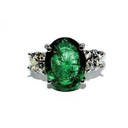 FB-13 5.5 Ct Emerald and Diamond Three-Stone Ring