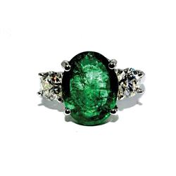 FB-13 5.5 Ct Emerald and Diamond Three-Stone Ring