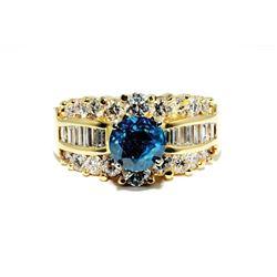 SB-07 Blue and White Diamond Ring