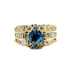 SB-07 Blue and White Diamond Ring