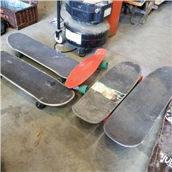 3 SKATEBOARDS, DECK, AND FREE RIDE BOARD