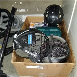 BOX LOT OF SPORT HELMETS, SHARK VACUUM, AND GREEN FISHING BOX