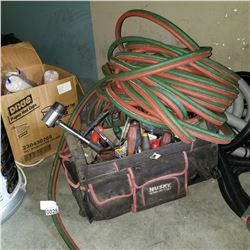 LOT OF OXY ACETYLENE HOSE AND BAG OF TOOLS