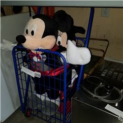 PICNIC BASKET SHOPPING CART AND MICKEY AND MINNIE MOUSE VAMPIRE DOLLS