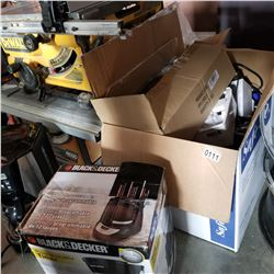BOX OF VARIOUS ELECTRONICS AND TO COFFEE MACHINES