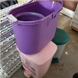2 WASTE BINS AND SPIN AND DRY MOP BUCKET