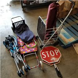 PERSONAL SHOPPING CARTS, STROLLER, YOGA MAT, TRAFFIC CONTROL SIGNS W/DOLLY