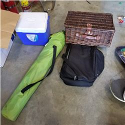 COOLERS, CAMP CHAIR, AND PICNIC BASKET SET